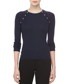 Michael Kors Button-Shoulder Cashmere Top, Midnight