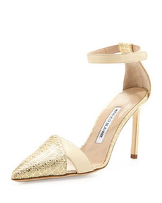 Mattick Point-Toe Metallic Pump, Gold   Mattick Point-Toe Metallic Pump, Gold
