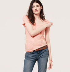 Scoop Neck Linen Tee