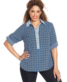 Jones New York Signature Plus Size Roll-Tab-Sleeve Printed Shirt