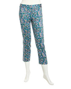 Laundry by Shelli Segal Printed Side-Zip Capri Pants, Peppermint