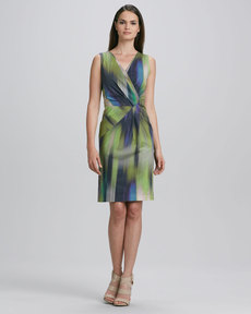 Lafayette 148 New York Laurel Sleeveless Warp-Print Dress
