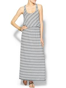 Michael Stars Sleeveless Racer Back Stripe Maxi Dress