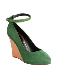 Celine green suede colorblock ankle strap wedge pumps