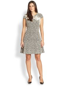 Kay Unger, Sizes 14-24 Lace-Detail Dress
