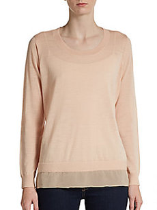Joie Cayce Semi-Sheer Wool Combo Sweater