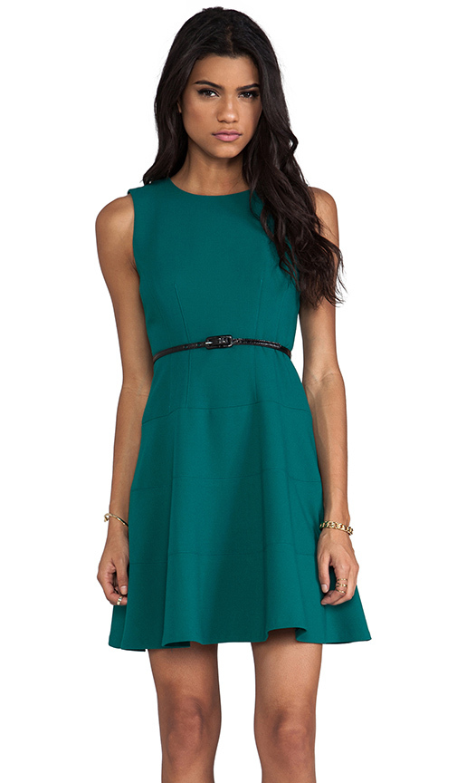 Shoshanna Double Crepe Joan Dress in Teal