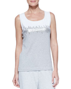 Joan Vass Two-Tone Beaded Sleeveless Shell