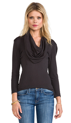 Michael Stars 3/4 Sleeve Cowl Neck in Charcoal