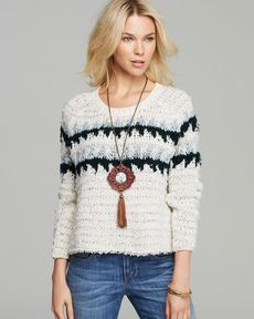 Free People Pullover - Fuzzy Fair Isle