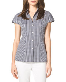 Michael Kors Check Stretch Poplin Shirt