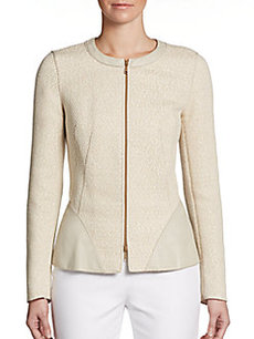 Lafayette 148 New York Brittany Tweed & Leather Jacket