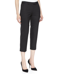 Jason Wu Cropped Gabardine Pants, Black