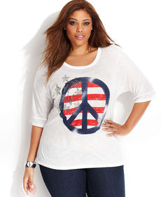 INC International Concepts Plus Size Dolman-Sleeve Peace-Sign Rhinestone Tee