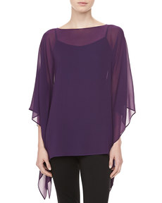 Michael Kors Silk Chiffon Tunic, Blackberry
