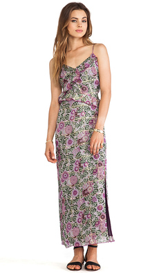 Anna Sui Sunflowers Print Maxi Dress in Lavender