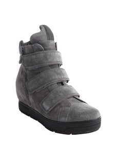 Prada grey suede wedge hi-top sneakers