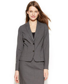 Calvin Klein Petite Two-Button Pinstriped Blazer