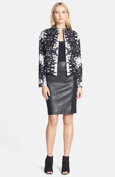 Classiques Entier® Wool Blend Jacket, Jersey Top & Leather Front Skirt