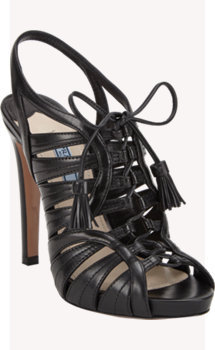 Prada Lace-Up Tassel Sandals