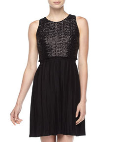 Laundry by Shelli Segal Sequin-Plisse Dress, Black
