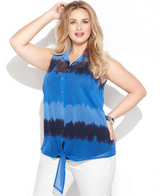 INC International Concepts Plus Size Tie-Dye Button-Front Tie-Hem Shirt
