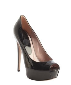 Gucci black leather platform peep toe pumps