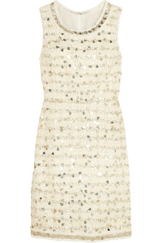 Oscar de la Renta Embellished cotton-blend tweed dress