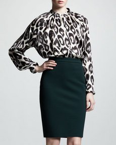 Lanvin High-Waist Back-Zip Pencil Skirt, Vert Anglais