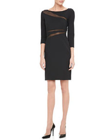 3/4-Sleeve Mesh Cutout Cocktail Dress   3/4-Sleeve Mesh Cutout Cocktail Dress