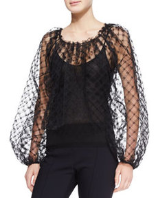 Long-Sleeve Lace Blouse, Black   Long-Sleeve Lace Blouse, Black