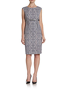 Calvin Klein Snakeskin Print Belted Sheath Dress