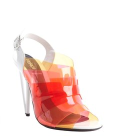 Fendi pink transparent rubber accent leather peep toe pumps