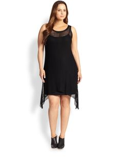 Eileen Fisher, Sizes 14-24 Scoopneck Mesh-Overlay Dress