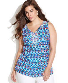 INC International Concepts Plus Size Beaded Printed Sleeveless Top