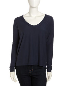 James Perse Scoop-Neck Boxy Tee, Neptune