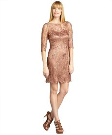 Kay Unger copper webbed lace sequin embellished dress