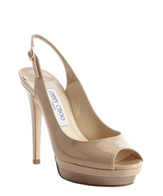 Jimmy Choo nude patent leather slingback 'Vertigo' platform pumps