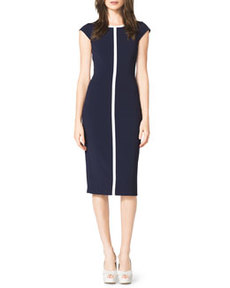 Contrast Cap-Sleeve Sheath Dress   Contrast Cap-Sleeve Sheath Dress
