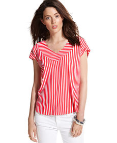 Tommy Hilfiger Cap-Sleeve Striped Top