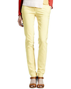 Skinny Stretch Cotton Pants, Citron   Skinny Stretch Cotton Pants, Citron