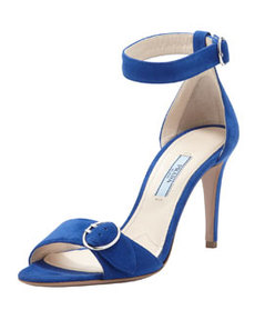 Suede Ankle-Wrap Sandal With Buckled Strap, Blue   Suede Ankle-Wrap Sandal With Buckled Strap, Blue