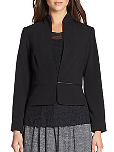 Eileen Fisher Leather-Trimmed Peplum Jacket