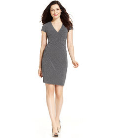 Jones New York Signature Petite Short-Sleeve Printed Faux-Wrap Dress
