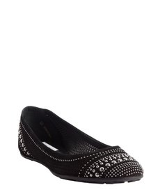 Jimmy Choo black perforated suede studded detail 'Welda' flats