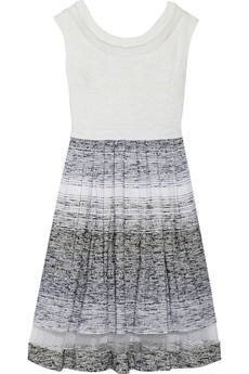 Badgley Mischka Mesh-paneled metallic tweed dress