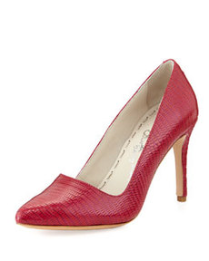 Alice + Olivia Dina Lizard-Embossed Pump, Hot Pink