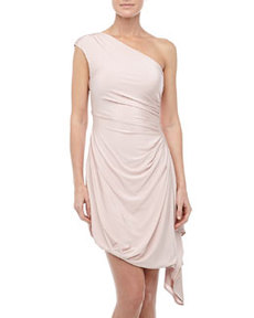 L.A.M.B. One-Shoulder Cascading Jersey Dress, Rose Smoke