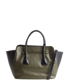 Prada green and black leather trapeze convertible tote
