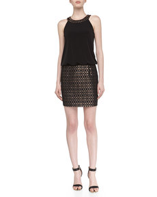 Laundry by Shelli Segal Metallic-Print Jacquard Halter Dress